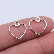 WYSIWYG 40pcs 14x13mm ciondolo con ciondoli a forma di cuore cavo Color argento antico per gioielli che fanno risultati di gioielli fai da te cheap CN (Origine) In Lega di zinco Other Charms Metallo Annata