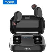 TOPK Bezprzewodowe słuchawki TWS, bluetooth 5.0, wyświetlacz LED, sportowe, wodoodporne, douszne, kompatybilne z iOS i Androidem