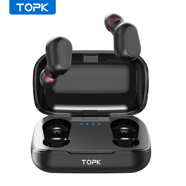 TOPK Wireless headphones TWS Bluetooth v5.0 LED Display Bluetooth Earphone Sports Waterproof earbuds headset Support iOS/Android