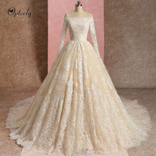 Optcely Luxury Champagne Boat Neck Long Sleeve Ball Gown Lace Up Wedding Dress 2019 Appliques Beaded Sweep Train Princess Bridal(China)