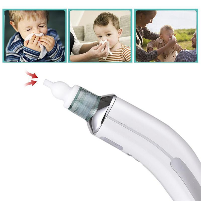 USB Safe Hygienic Nasal Aspirator Electric Automatic Portable Nose Cleaner For Newborn Babies (White)
