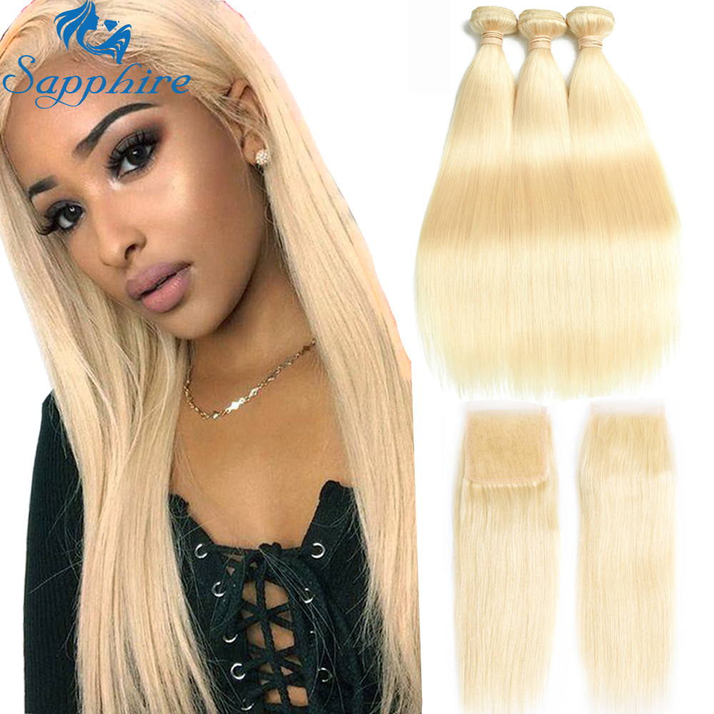 Sapphire Human Hair Blonde Bundles With Closure Bundles With Closure Brazilian Straight Hair Weave 613 Bundles With Lace Closure