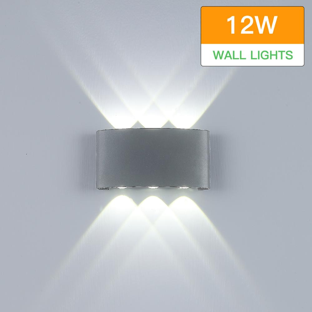 Modern Wall Sconce Lights 12W LED Outdoor Waterproof Wall Lights Up Down Aluminium Wall Lighting Lamps
