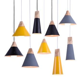 Pendant Lights Modern Wood Pendant Lamp Nordic Style For Cafe Restaurant Bedroom Kitchen Colorful Hanging Living Room Dining 2