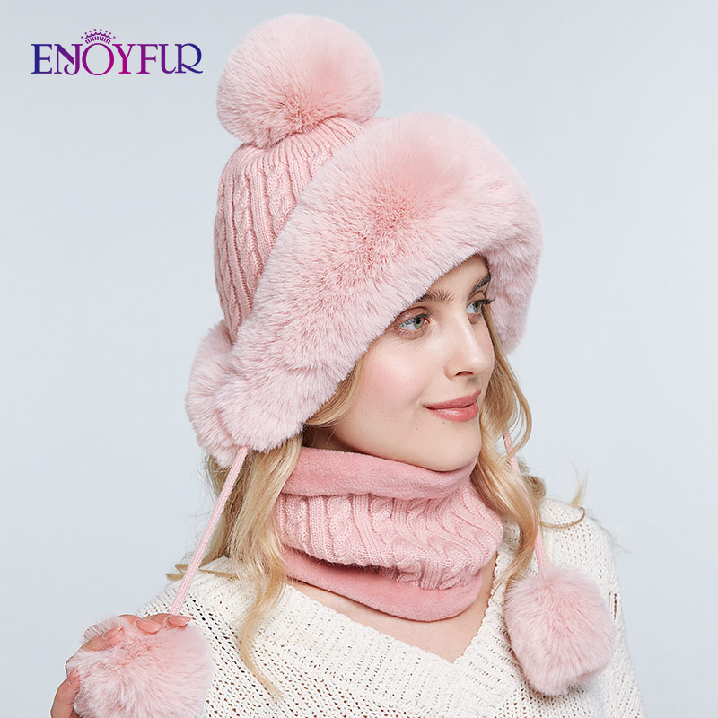 ENJOYFUR Women Bomber Hat Scarf Set For Winter Warm Faux Rabbit Fur Caps Thick Lined Ear Flap Beanies For Girls