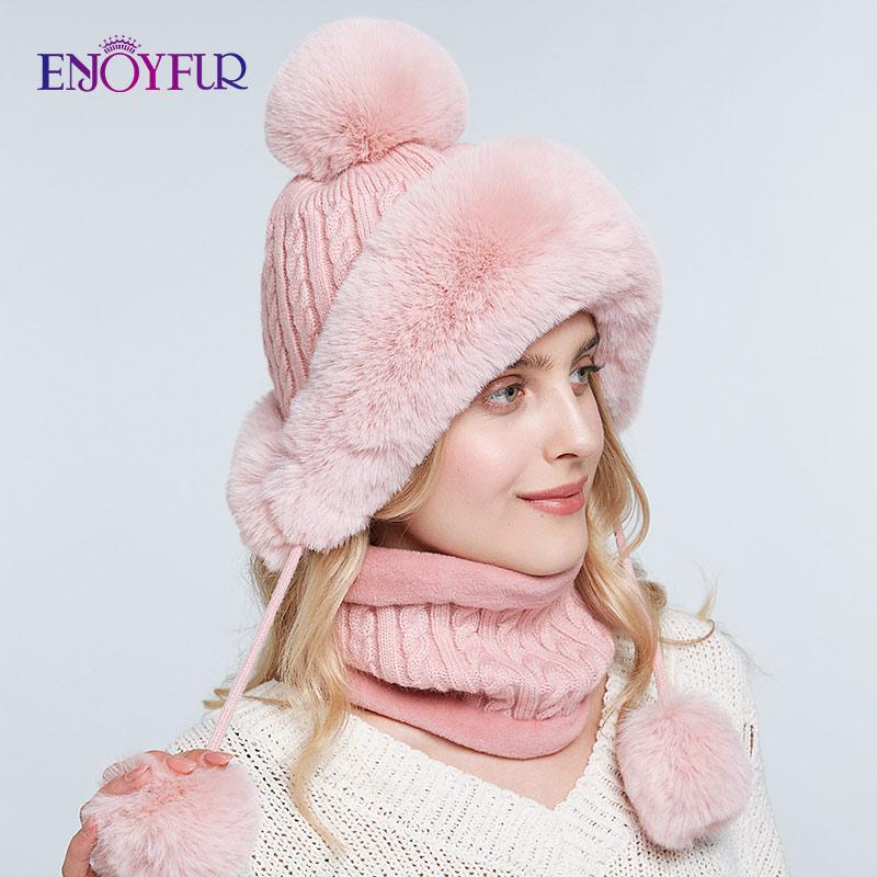 ENJOYFUR Women Bomber Hat Scarf Set For Winter Warm Faux Rabbit Fur Caps Thick Lined Ear Flap Beanies For Girls