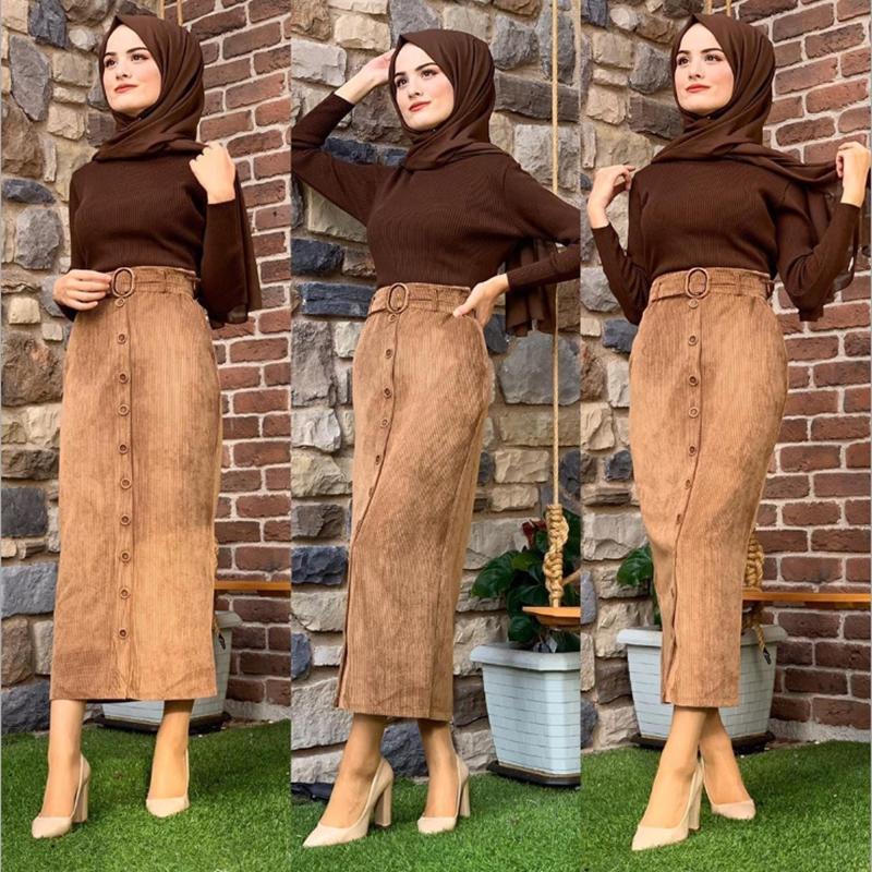 Muslim High Waist Women Corduroy Long Pencil Skirt Abaya Dubai Musulman Turkey Arabic Half Dress Fashion Women European clothes