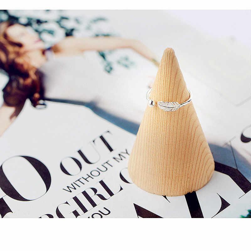 Auténtica Plata de Ley 925 Linda pluma personalidad anillo ajustable joyería fina para mujeres fiesta elegante Accesorios