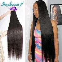 Rosa Beauty, 8-28, 30, 40 дюймов, натуральный цвет, бразильские волосы, 1, 3, 4 пучка, прямые 100% Remy, человеческие волосы для наращивания, уток