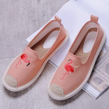 ฤดูร้อนใหม่สไตล์รองเท้าชาวประมงฟาง Ramie รองเท้ารองเท้าแบนรองเท้าสบายๆรองเท้า SLIP-ON Loafers นักเรีย...
