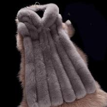 Новинка весны, женское меховое пальто с капюшоном, имитация меха серебристой лисы, жилет размера плюс, Женское пальто из меха лисы