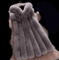 2019 Spring new women hooded fur coat silver fox imitation fur vest plus size ladies fox fur coat