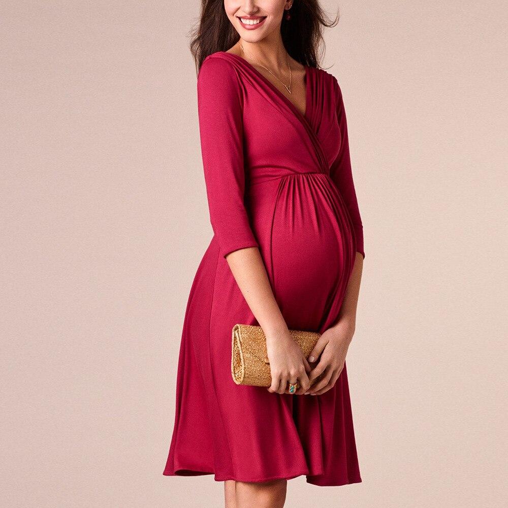 Image 2 - Vestidos de lactancia materna ropa de maternidad para mujeres embarazadas ropa sólida con cuello en V vestidos de embarazo vestido de noche para madresVestidos   -