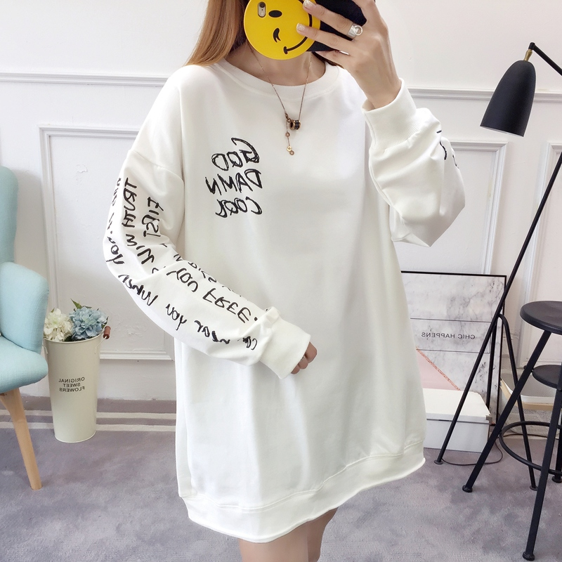 2019 autumn new Korean version of the XL T-shirt women's thin section long-sleeved loose hole wild T-shirt shirt women 77