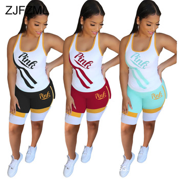 Letter Stripe Print Two Piece Sweatsuit Women Clothes Slim Fit Tank Top And Skinny Short Sweat Suit Plus Size Lounge Wear Outfit цена 2017