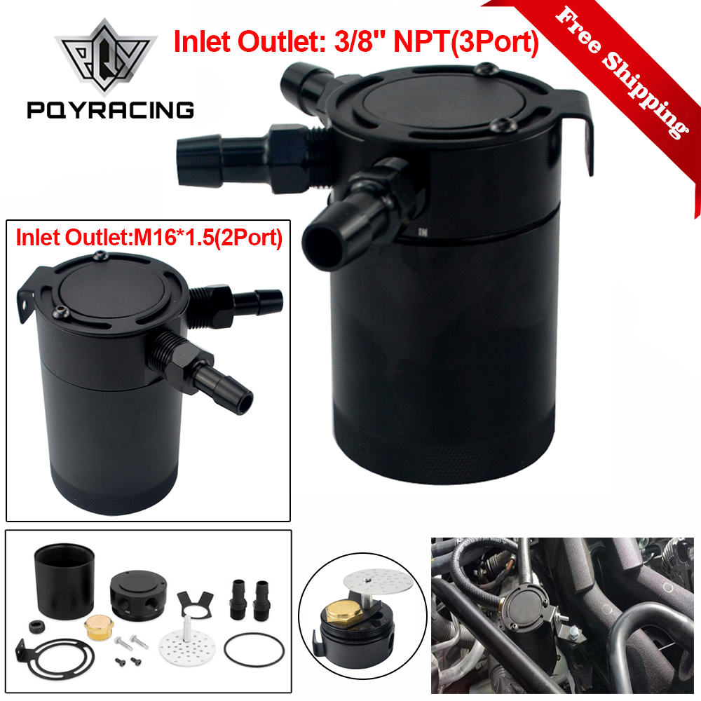 Color : Black-2 holes Universal Racing Baffled 2//3-port Oil Catch Can Tank Air Oil Separator With Removable Valve OCC038+OCC039//OCC034+OCC039 Cyclist store
