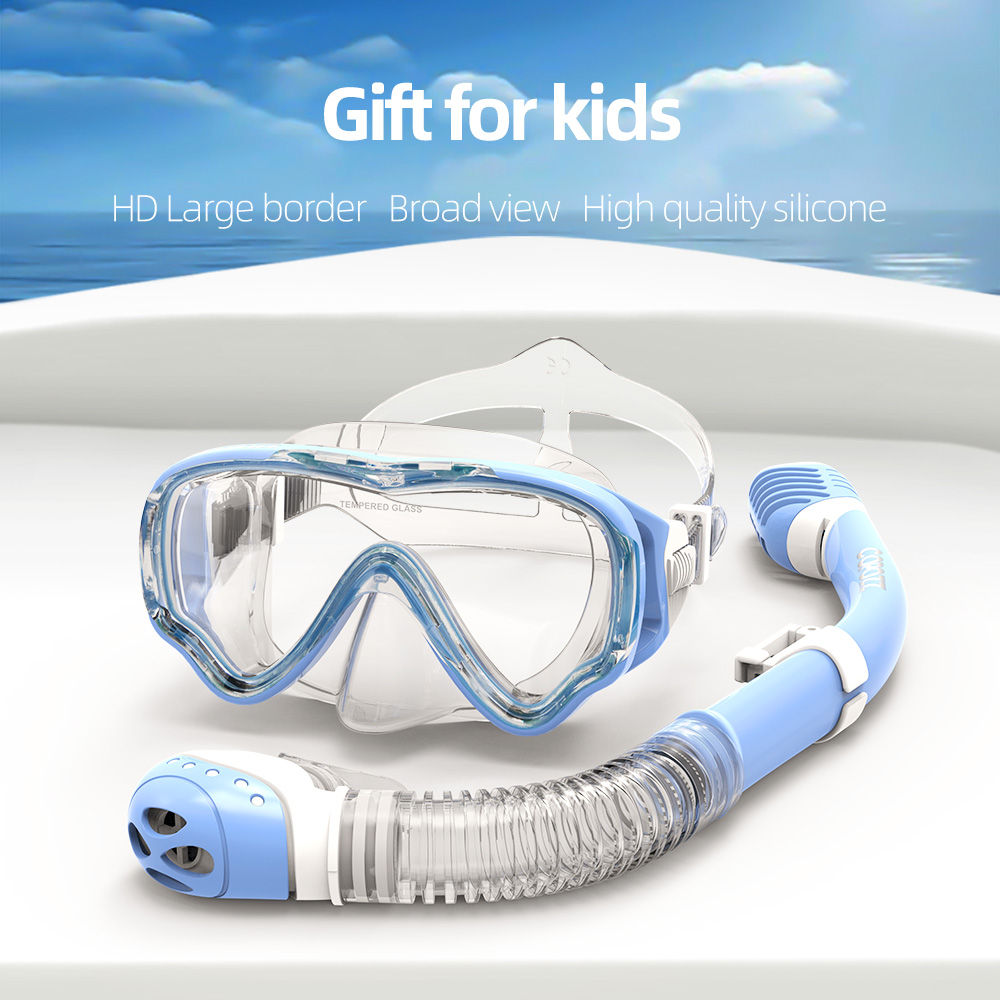 COPOZZ Diving Mask Kids Full Face HD Anti Fog Scuba Mask Underwater Snorkel Mask Set Kids Swimming Snorkel Diving Equipment