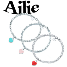 Ailie original high quality 925 sterling silver heart necklace classic enamel drop glue fashion ladies jewelry couple gift