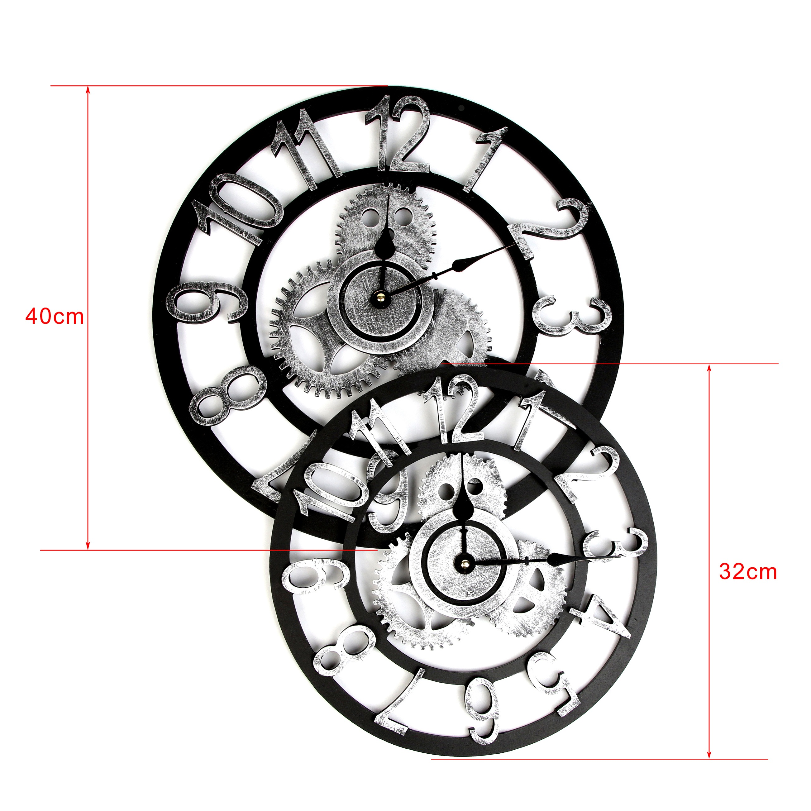 Vintage Roman Clock Retro European Gear Wall Clock European Steampunk Gear Wall Home Decoration Modern Design 3d Wall Clock 2019