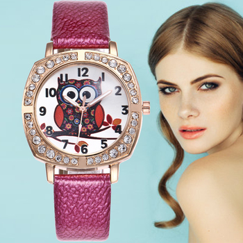 New Cartoon Owl Watches Women Square Dial Diamond Quartz Watch Fashion Ladies Leather Wristwatch Bayan Kol Saati Ceasuri Women women leather band quartz watches rose gold case fashion casual watch rectangle dial roman number wristwatches bayan kol saati