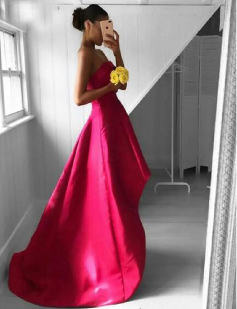 Sevintage Simple Strapless Short Front Long Back Prom Dresses Sleeveless Satin Evening Gowns Formal Woman Party robe de soiree