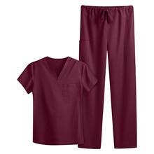 Ladies Workwear Classic V-Neck Nurse Tops Pet Shop Beauty Salon Laboratory Workwear Elastic Waist Pants Women Nurse Uniform Set
