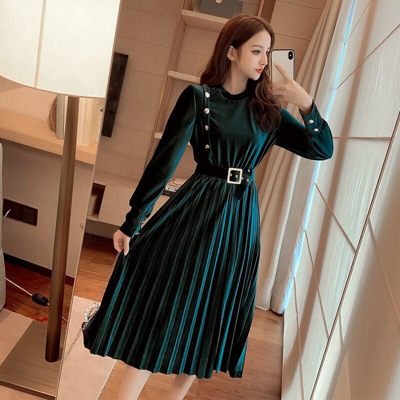 Robe longue plissée pour femmes, tenue blanche, noire, verte, nouvelle collection, 7290