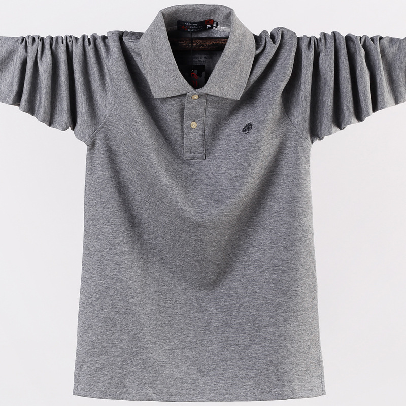 Men Polo Shirt Top Solid Color All Cotton Men Long Sleeve Shirt Oversized Tee High Quality Fashion Male Shirt Drop Ship