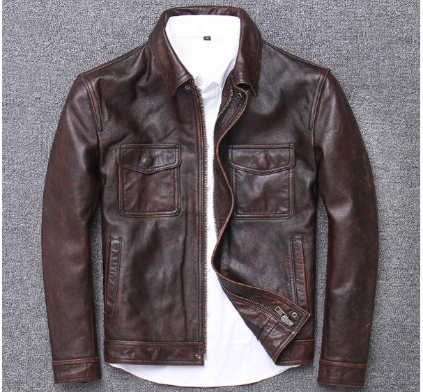 Haac26e43d9ab4c11990dd89c2569fe26D YR!Free shipping.sales.Clearance.$99.99 cowhide jacket.mens genuine leather coat.fashion vintage casual leather outwear.classic