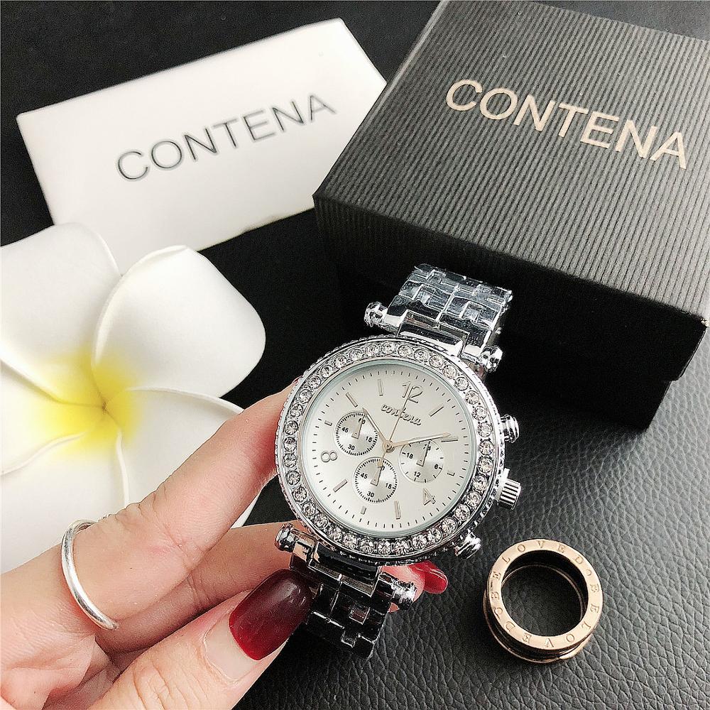 CONTENA Top Brand Luxury Simple Women Watches Stainless Steel Quartz Wristwatches ladies Fashion Clock