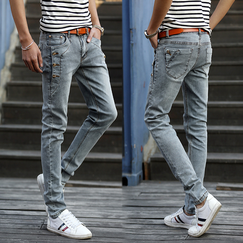 Autumn And Winter MEN'S Jeans Slim Fit Pants Elasticity Light Gray Men'S Wear Korean-style Fashion Thick-2019 New Style MEN'S Tr