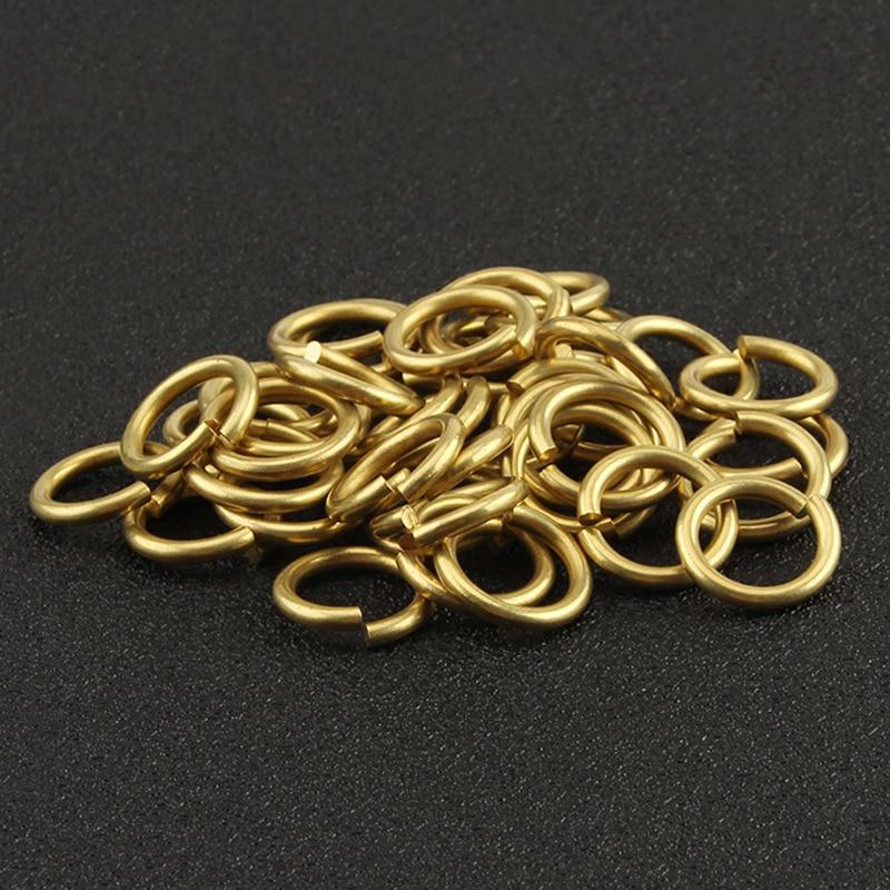 10 pièces/lot en laiton jaune anneau bobine en plein air EDC petit outil bricolage porte-clés accessoires