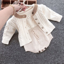 Autumn Baby Girls Clothes Set Baby Knitted Romper Set Infant Newborn kids Cardigan Boys Sweater Cotton Jumpsuit