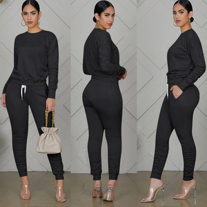 Women's Fluorescent Solid Long Sleeve Set Round Neck Top + Drawstring Pleated Pants 2Pcs Casual Set