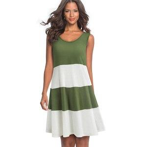 Image 3 - Đẹp Mãi Mãi Casual Màu Sắc Tương Phản Miếng Dán Cường Lực Không Tay Nữ vestidos Rời Dịch Chuyển Nữ A166