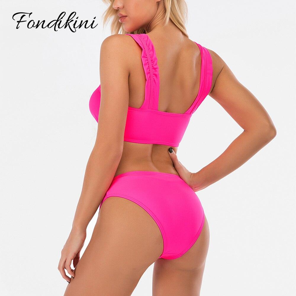 High Waist Swimwear Pink Swimsuit Ruffle Bikini Feminino 2020 Sexy Two Piece Bathing Suit For Women Traje De Bano Mujer Hot Sale