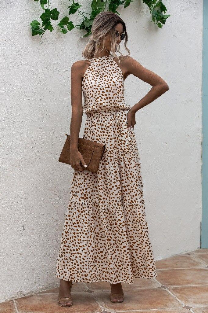 Summer Elegant  beach Women Dress  2020 long Print Flowers Polka-dot strap Ladies Halter boho Dress Vintage party ladies Dress 8