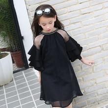 купить Teenager Ruffle Sleeves Chiffon Dresses For Girls Clothing Age68 10 12 14 16Year New Big Girls Party Dress Children 40 онлайн