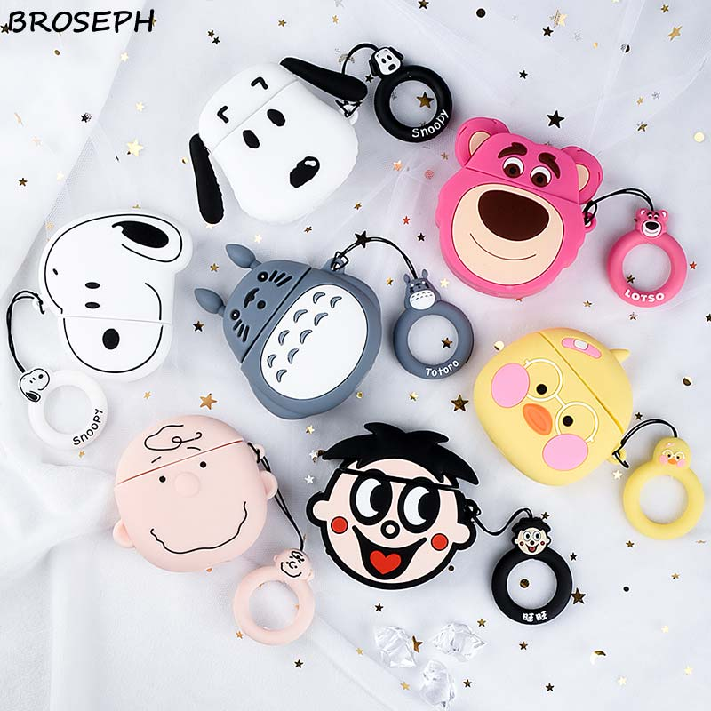 3D Cute Case for Airpods 2 Case Silicone Cartoon Duck Dog Headphone Protector Cover for Apple Airpods 1 For Earpods Cases