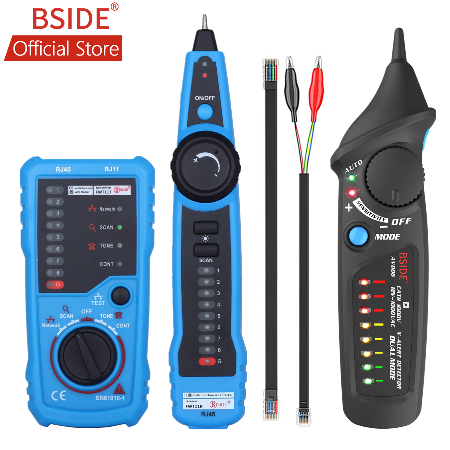BSIDE FWT11 High Quality RJ11 RJ45 Cat5 Cat6 Telephone Wire Tracker Tracer Toner Ethernet LAN Network Cable Tester Line Finder