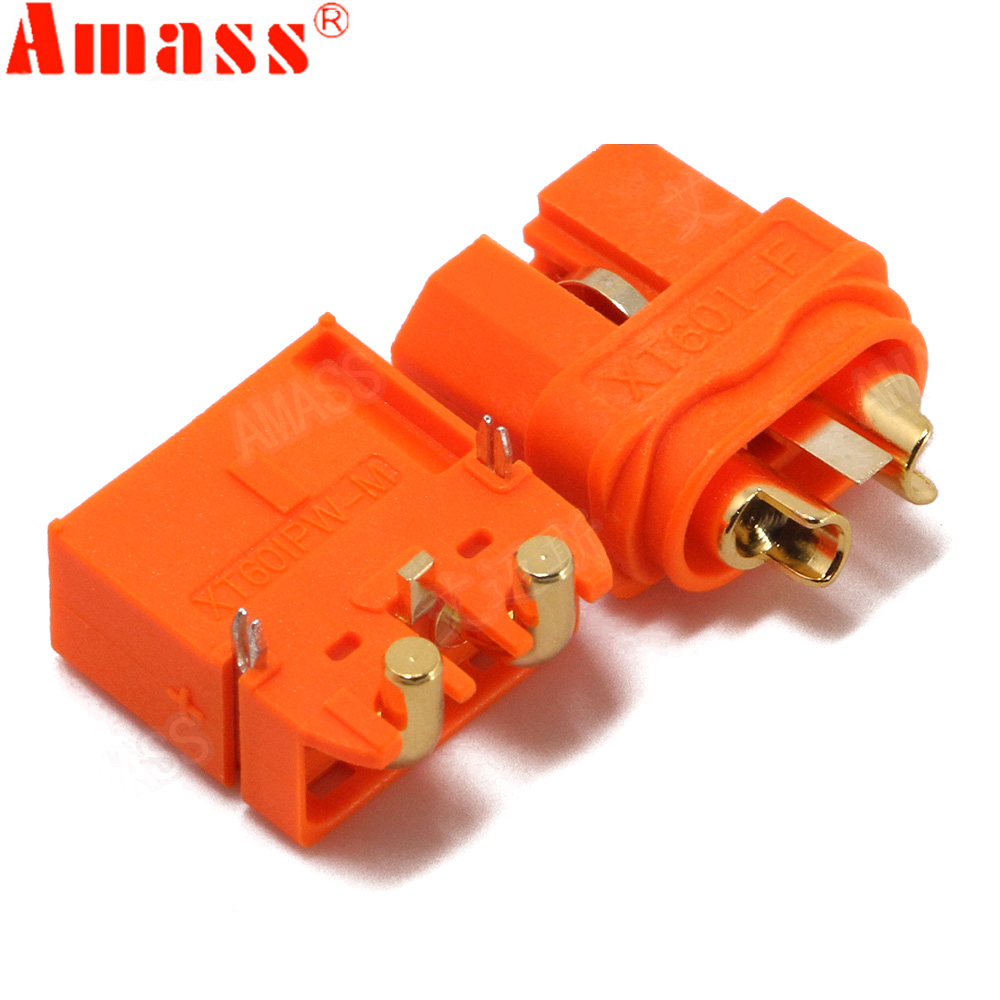 5/10 pair AMASS XT60 2+1 Connector With Signal Pin XT60IPW XT60I Horizontal Rectangular Plate Plug Two Core Version For Rc Parts