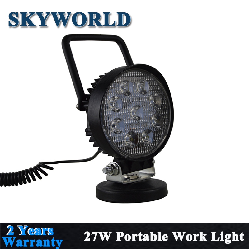 27W Round Portable LED Work Light Offroad Spot Light With Magnetic Base Holder Waterproof For 4WD Truck Boat Driving Camping