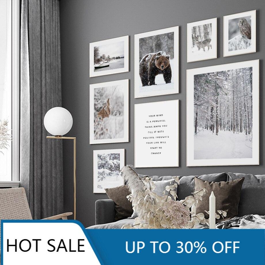 Лесной Медведь Олень зимний Снежный пейзаж настенная Картина на холсте постеры скандинавские принты Настенный декор картины для гостиной Декор