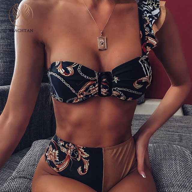 Peachtan Sexy high waist bikini 2020 One shoulder swimsuit female Ruffle bathing suit Retro floral print swimwear women bathers