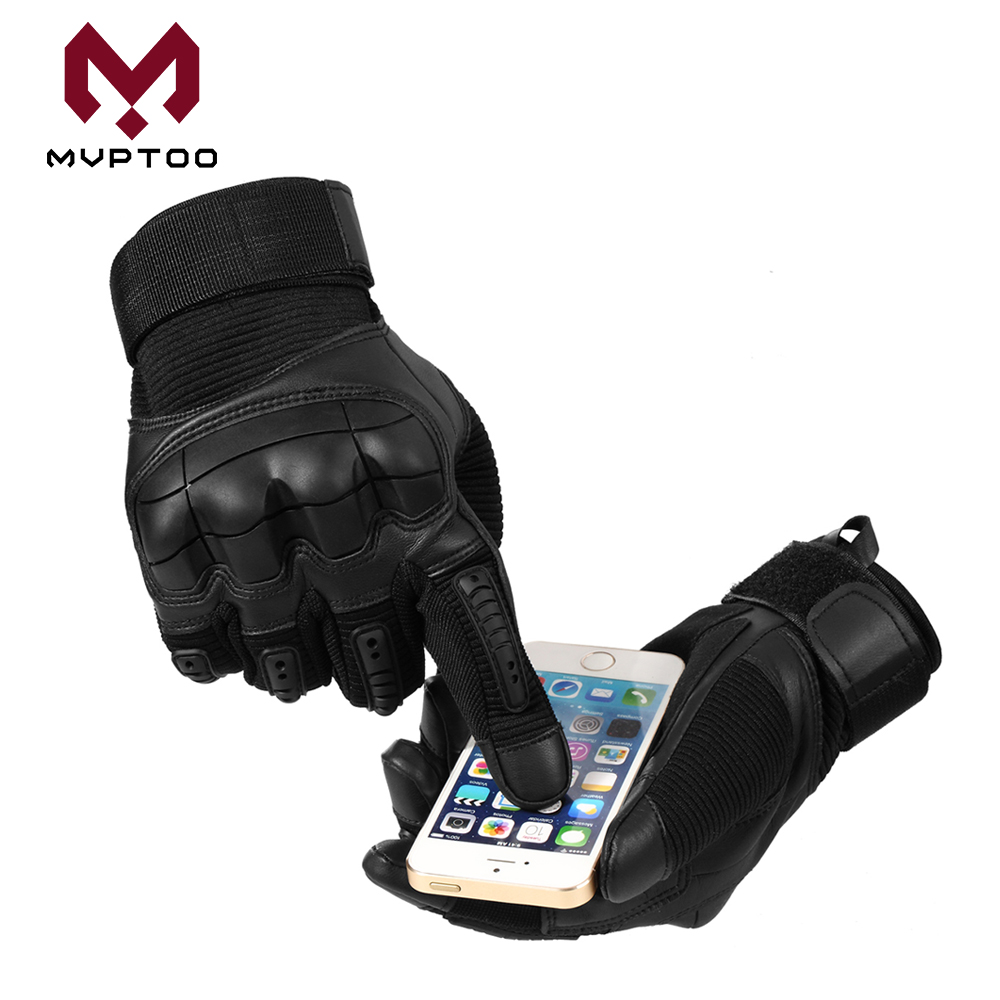 Image 4 - Touch Screen PU Leather Motorcycle Gloves Motorbike Motocross  Moto Cycling Hard Knuckle Protective Gear Full Finger Glove MenGloves    -