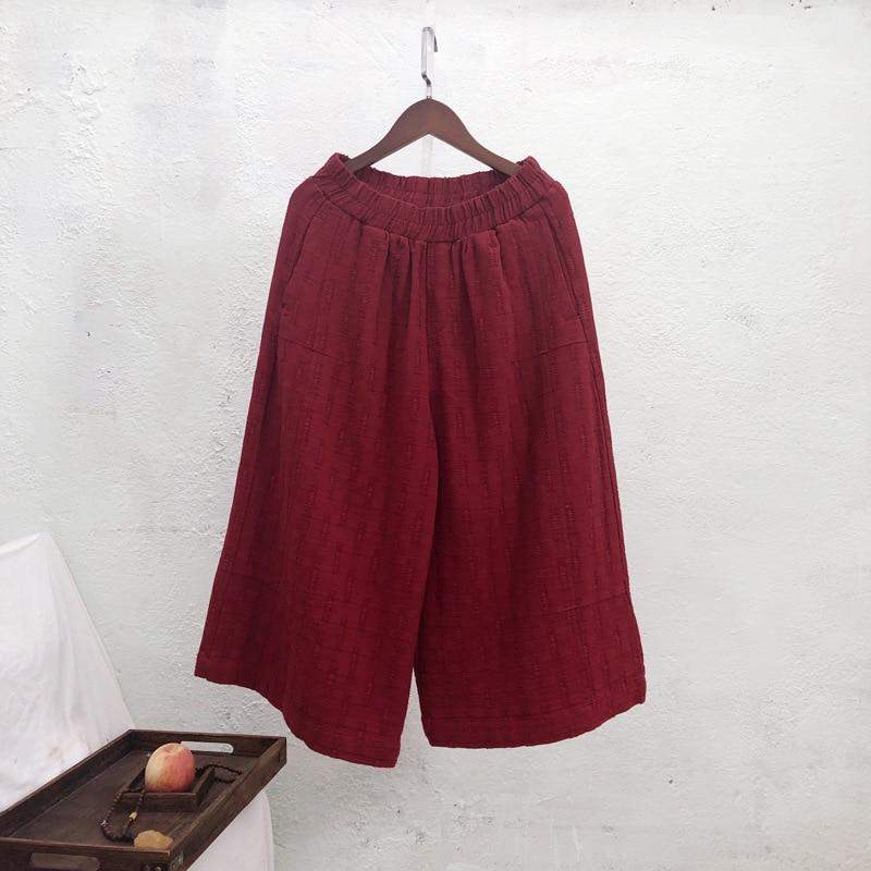 Calf-length   Pants   Women Clothes 2019 New Autumn Vintage Loose Elastic Waist   Wide     Leg     Pants   Vintage All-match   Pants