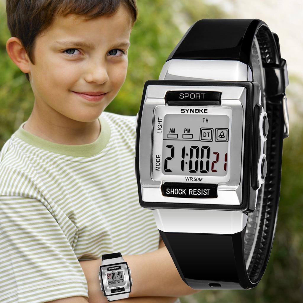 SYNOKE Спорт Дети Часы Симпатичные Красочный Светодиод Дисплей Спорт Дети Электроника Часы Мальчики Девочки Часы Хронограф Наручные часы
