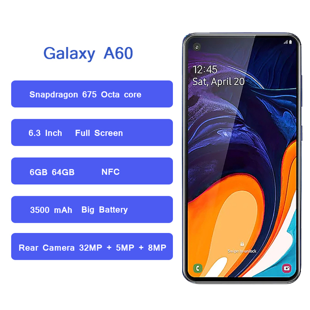 Samsung Galaxy A60 4G Android Smartphone 6.3 inch Full Screen Octa Core 6GB 3500mAh 32MP