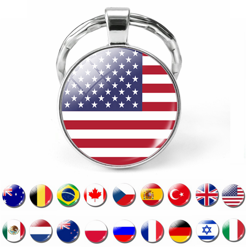 National Flag USA UK Russia Spain Keychain Glass Cabochon Jewelry Key Chain Ring Women Men Pendant Patriot Souvenir Gifts