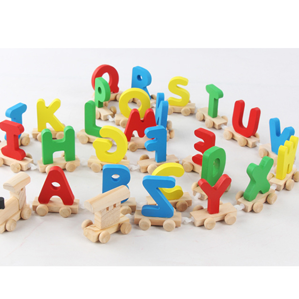 Letter Train Wooden Alphabet Railway ABC Alphabet Train Preschool Kids Toddler Educational Toy